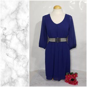 By & By Blue High Waist Dress With Belt Small